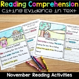 Reading Comprehension Passages and Questions for November Thanksgiving