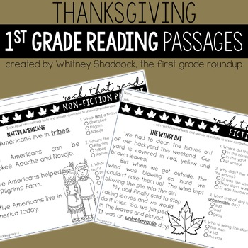 Thanksgiving Reading Comprehension Passages
