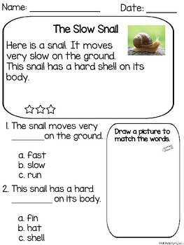 Plants & Animals(living/nonliving things) Reading Comprehension Passages