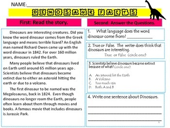 Reading Comprehension Passages with Questions
