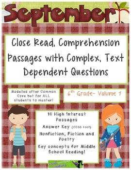 September 6th(Vol.1) - Common Core Close Read w/ Text Dependent Complex Question