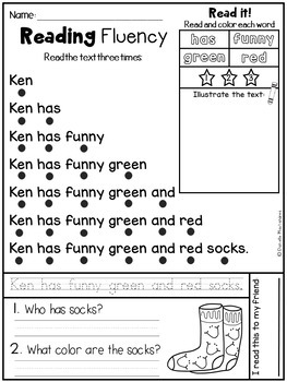 Reading Comprehension Passsages- Fluency Phrases {CVC SET}