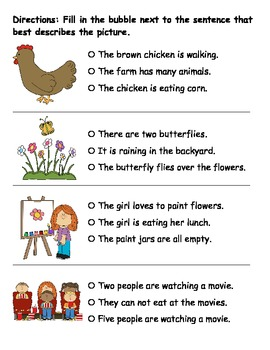 Reading Comprehension - Picture Sentence Match