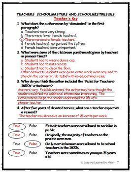 Reading Comprehension - Pioneer Schools and Teachers