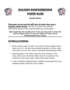Reading Comprehension Poker Game