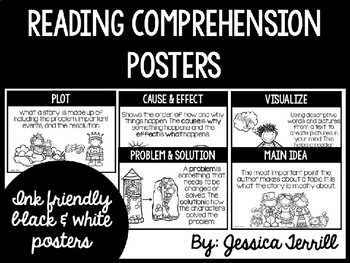 Reading Comprehension Posters: Black & White