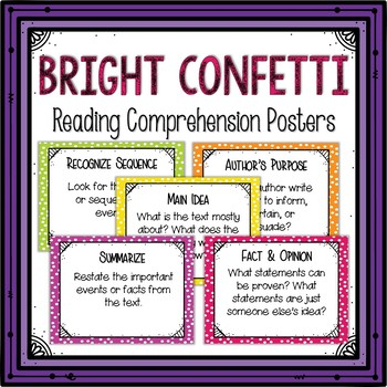 Reading Comprehension Posters-Bright Confetti Themed