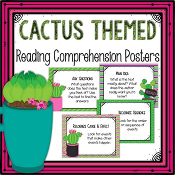 Reading Comprehension Posters-Cactus Themed