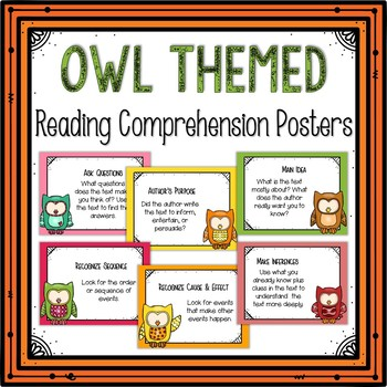 Reading Comprehension Posters-Owl Themed