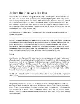 Reading Comprehension Practice-Before Hip Hop Was Hip Hop