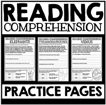 Reading Comprehension Practice Pages - Find Text Evidence
