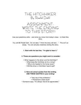 "Reading Comprehension - Predicting with Dahl's ""The Hitchhiker"" Story"