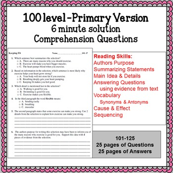 Reading Comprehension 100 level Primary 6 minute solution passage questions