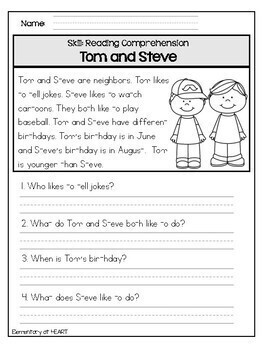 It is a photo of Declarative Printable Comprehension Worksheets