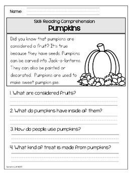 Close Reading Comprehension Printable Worksheets- Fall