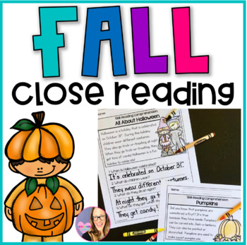 Close Reading Comprehension Printable Worksheets- Fall