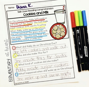 Close Reading Comprehension Printable Worksheets- Holiday