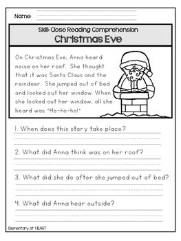 Holiday Close Reading Worksheets for First Grade by ...