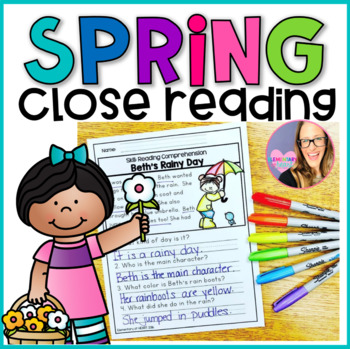 Close Reading Comprehension Printable Worksheets- Spring