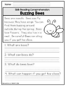 Close Reading Comprehension Worksheets- Spring - Independent Work Packet