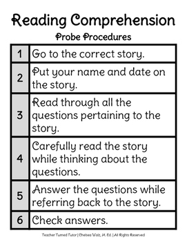 Reading Comprehension Probe (Assessment) Procedures