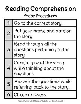 Reading Comprehension Probe (Assessment) Procedures