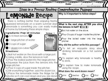 Reading Comprehension Procedural (How To) Text Evidence