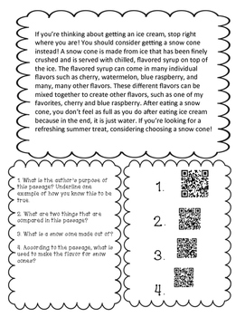 Reading Comprehension QR Code Passages and Questions