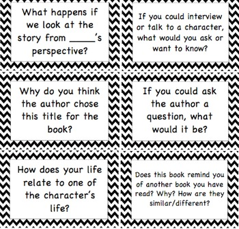 Reading Comprehension Question Cards for Book Clubs