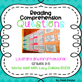 Reading Comprehension Question Stem Cards Literary And Informational