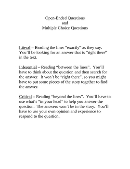Reading Comprehension Question Types - Literal, Inferential, Critical