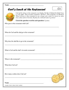 Reading Comprehension (Question Words)