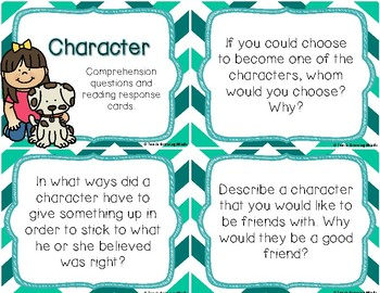 Reading Comprehension Questioning Cards-Character