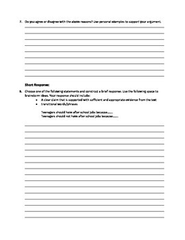 """Reading Comprehension Questions for """"After School Jobs"""" article"""