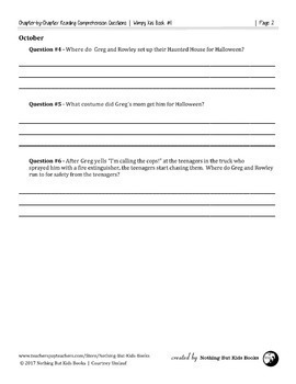 Reading Comprehension Questions Discount Bundle | Diary of a Wimpy Kid