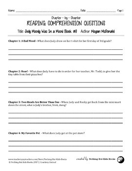 Reading Comprehension Questions Discount Bundle | Judy Moody