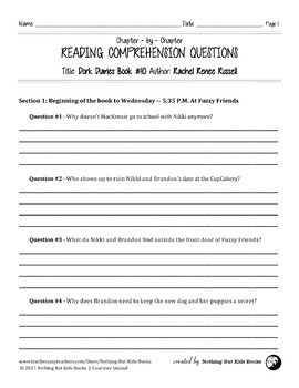 Reading Comprehension Questions | Dork Diaries #10