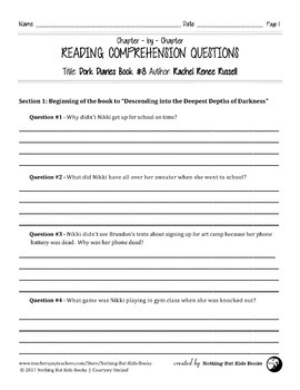Reading Comprehension Questions | Dork Diaries #8