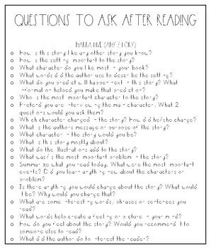 Reading Comprehension Questions Handout