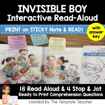 Reading Comprehension Questions & Interactive Read Aloud with The Invisible Boy
