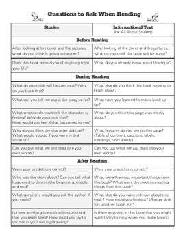 Reading Comprehension Questions - Literature and Informational Text
