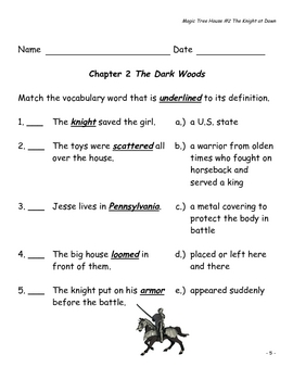 Magic Tree House #2 The Knight at Dawn - Comprehension Questions