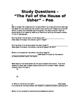 Reading Comprehension Questions - Poe's The Fall of the House of Usher
