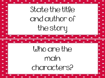 Reading Comprehension Questions - Strips {Red} FREE!