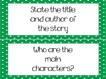 Reading Comprehension Questions - Strips {green} FREE!