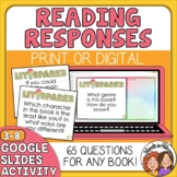 Reading Comprehension Questions for Any Book Task Cards plus Google Digital