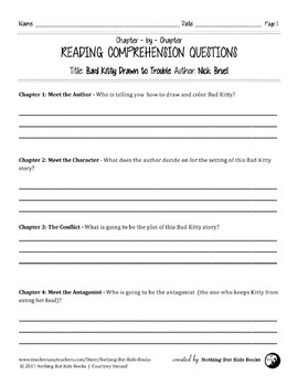 Reading Comprehension Questions | Bad Kitty Drawn to Trouble