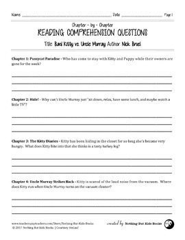 Reading Comprehension Questions | Bad Kitty vs. Uncle Murray