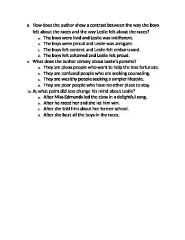 Reading Comprehension Questions for Bridge to Terabithia