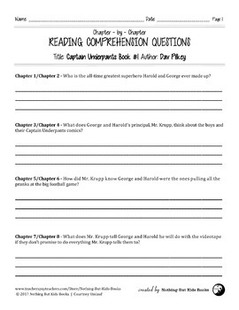 Reading Comprehension Questions for Captain Underpants Book #1